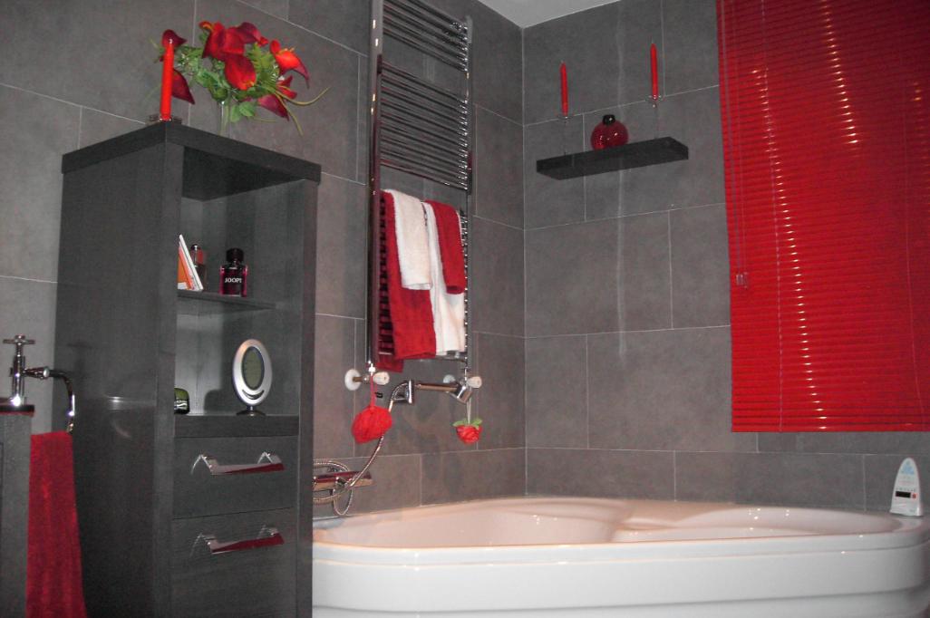 Ba o con tonos rojos reformark for Banos en tonos grises